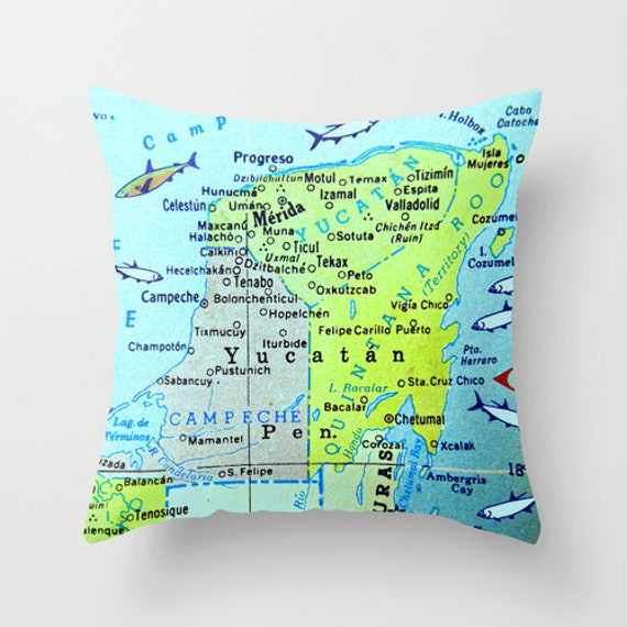 Yucatan map pillow cover Map Pillow Mexico Pillow Merida