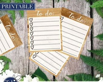 WOOD TO DO heart checklist printable planner stickers. Full boxes with heart checkboxes for Erin Condren planner.