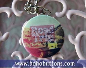 """Hippie Road Trip 1.5"""" Keychain, Hippie Keychain, Flower Power Keychain, Bus Keychain, Boho Keychain, Hippie Gift, Boho Buttons"""