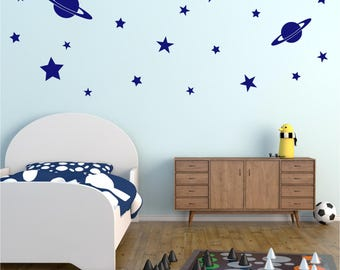 24 Piece STARS PLANETS Space Girls Boys Childrens Bedroom Playroom Nursery Matt Vinyl Wall Art Sticker Decal Transfer 20 colours 2 sizes