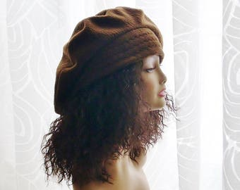 Slouchy Fleece Tam/Hats for Dreadlocks/Sable Brown Color Hat/One Size XL
