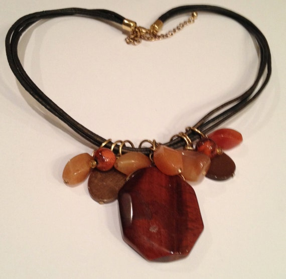 SJC10068 - Fall colors gemstone and black leather 3-string necklace