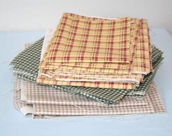 Fabric Scrap Bundle, Plaid Canvas Fabric Scraps, 100% Cotton Fabric, 15 ounces