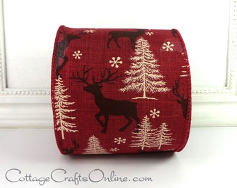 "Christmas Wired Ribbon, 4"" wide, Burgundy Red with Brown Deer Print - TEN YARD Roll - d. stevens  Wire Edged Ribbon"