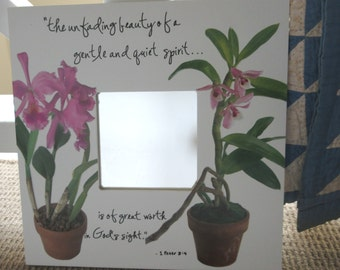 Gift for Her Christian Gift for Women Gentle and Quiet Spirit Mirror White Mirror Orchids  1 Peter