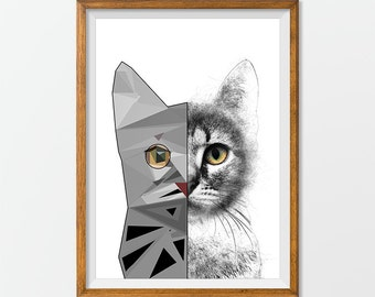 Cat Print Poster Wall Art