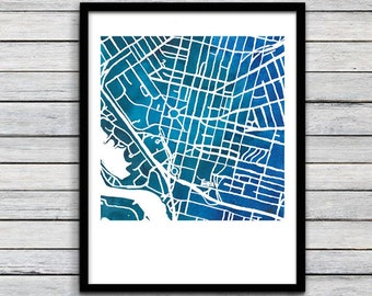 Map of Buffalo, New York, Buffalo Watercolor Map, Buffalo Gift, Buffalo Art, City Grid of Buffalo, Watercolor Buffalo Art