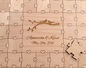 100 pieces Custom Wedding Guest Book Puzzle and Sign Lovebirds Hearts