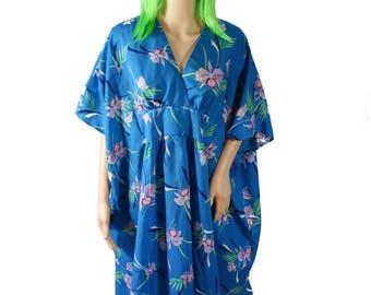 Vintage 1980s Blue Flower Hawaiian MuuMuu - One Size Muu Muu