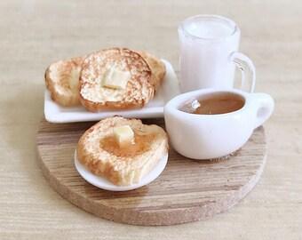 Miniature Bakery Set on the tray,Miniature toast,Miniature Honey,Miniature Bread,Dollhouse bakery set,Miniature Sweet,Miniature Milk