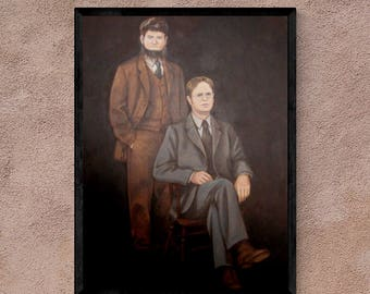 """The Office Wall Art - Portrait of Dwight Schrute and Mose Schrute - 18x24"""", poster print, framed print, or canvas"""