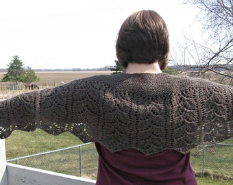 Handknit Brown Wool Shawl, Scarf. Stole, Wrap for Women