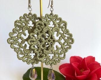 Olive ~ Needle Lace ~ Dangle Earrings