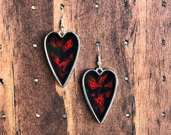 Fiery Red Heart Earrings