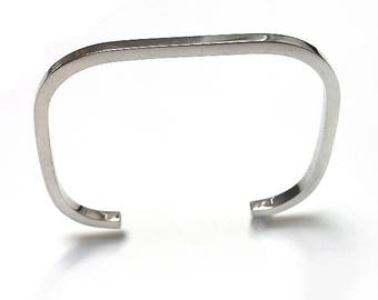 Sterling Silver version CADRATUS Bangle BRACELET. Contemporary jewelry, minimalist design.