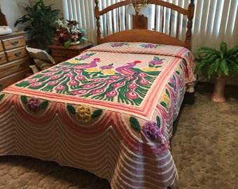 """1950's peacock chenille bedspread size apps 93x100"""""""