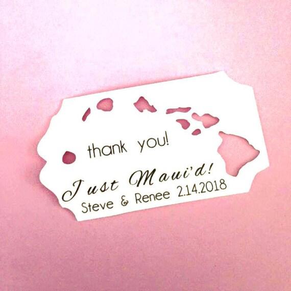 Just Maui'd Custom, Island Die Cut, Personalized Name Tag, destination wedding, Wedding Favor Bags, Bachorlette Favors, Bachelor Favors