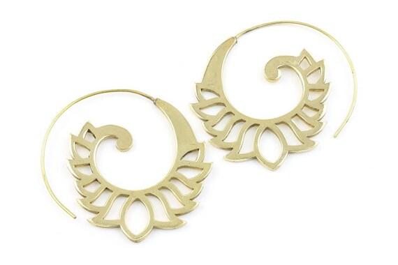 Lotus Flower Spiral Brass Earrings, Tribal Brass Earrings, Festival Jewelry, Gypsy Earrings, Ethnic, Golden Spiral Earrings