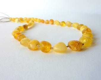 Amber Linen Necklace. Handmade Gold Orange Untreated Baltic Amber Necklace . Linen Necklace .Organic Gift .Bocho Necklace Natural Style