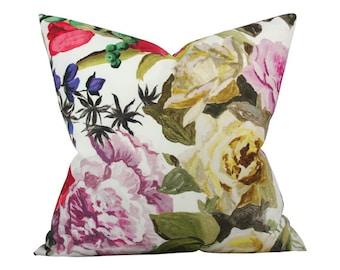 Orangerie Rose Designer Pillow Cover - Custom Made-to-Order - Multi-colored Floral
