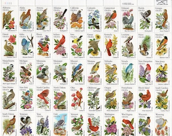 State Birds with State Flowers - 1982 - Unused - Scott 1953-2002 - Full Sheet (50)