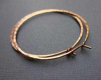 1.5 inch Rose Gold filled Hoops, 18G Hammered Hoop Earrings, Gold Hoops, Modern Jewelry, Minimalist, Skinny Hoops, Delicate, Gift Under 35