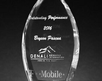 Personalized Engraved Crystal Award Custom Trophy - Custom Awards - Corporate Gifts - Engraved Crystal - Staff Awards - Company Logo - Etch