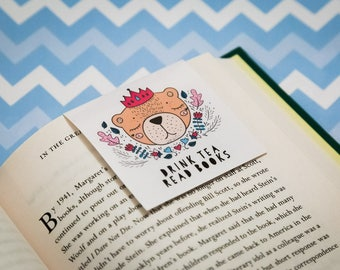 Bookmark - Magnetic Bookmark - Planner Accessories - Page Marker - Read Books Drink Tea Bookmark - Bi Arts Festival - gift for her