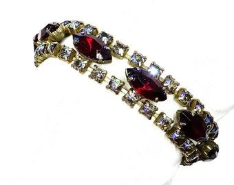 Red Navette Rhinestone Bracelet