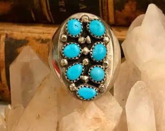 MothersDaySale Beautiful Native American Sterling Silver RARE Sleeping Beauty Turquoise Native American Ring Native American Jewelry