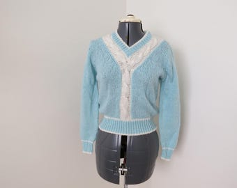 Vintage 70s 80s Blue White Cable Knit Sweater - Womens Bust 34 (B6)