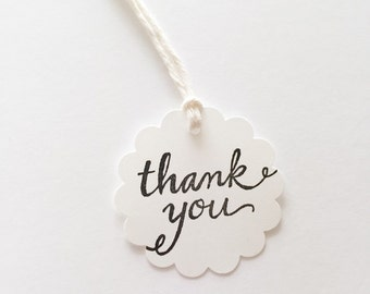 THANK YOU Favor Gift Tags, Hand-Stamped (10ct)