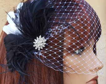 Black Feather Hair Fascinator AND bandeau bridal veil, Wedding Headpiece, Black White Feather Headpiece,  Bridal Feather Hairpiece, Brides