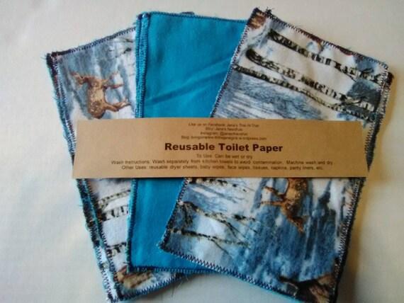 Reusable toilet paper family cloth washable 3 pieces 5x8