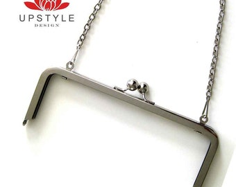 8 x 3 Metal Purse Frame with chain Nickel or Antique Brass Finish - Ships from USA