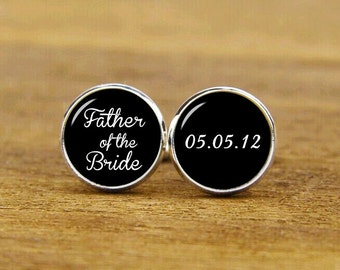 Father Of The Bride Cufflinks, Custom Any Text, Name Or Date, Custom Wedding Cuff Links, Wedding Gifts, Round, Square Cufflinks, Tie Clips