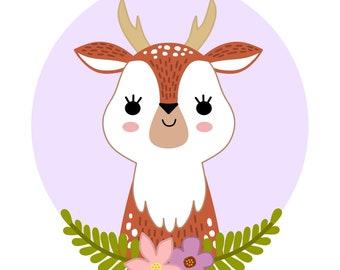 PRINTABLE digital illustration - DEER - instant download, digital download, nursery wall art, printable nursery decor, woodland animals