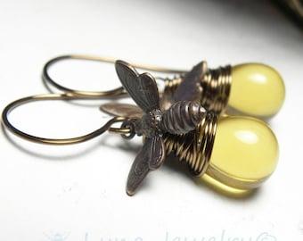 Honey Bee Jewelry Vintaj Brass Earrings with Wire Wrapped Honey Drops
