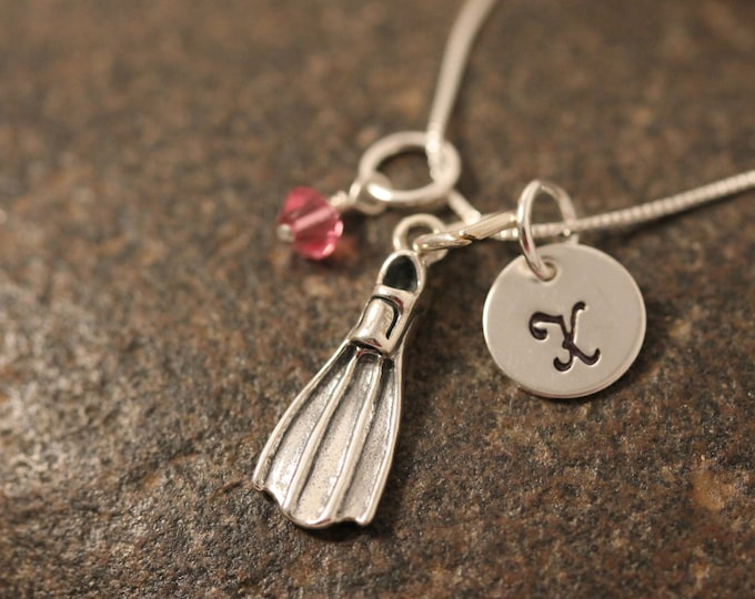 Sterling Silver Scuba Diver Flipper Fin Charm Necklace with Mini Hand Stamped Initial and Birthstone