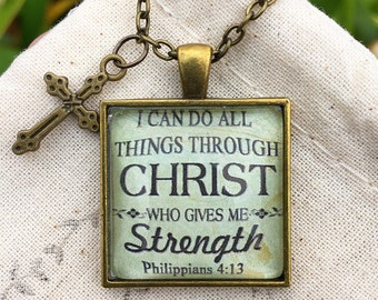 "Bible Verse Pendant Necklace ""I can do all things through Christ who gives me strength. Philippians 4:13"""
