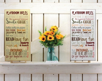 Playroom rules sign kids room sign