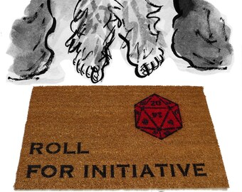 Dungeons and Dragons, Stranger Things Roll for initiative D&D rollplay, rpg, gamer,  fandom, geek nerd nerdy doormat eco friendly outdoor