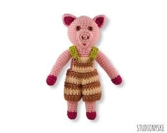 Crochet baby toy PATTERN, amigurumi animal pig BOY, birthday gift