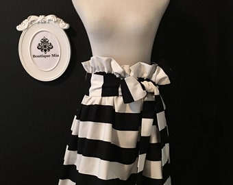 Heavy Weight - Black and White Striped Paper Bag SKIRT and SASH - Made in ANY Size - Boutique Mia