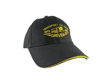 Personalized Bus Driver Yellow School Bus Driver Embroidery Design on an Adjustable Structured Black and Yellow Peak Classic Baseball Cap
