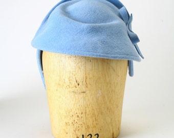 Light Baby Blue Velour Fur Felt Headband Fascinator Fedora Cocktail Winter Hat, Felt Bow-Couture Millinery/ Kate Middleton