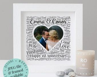 Personalised 1st ANNIVERSARY GIFT - Word Art - Framed Print - Printable Gift - For Husband - 1st Wedding Anniversary - Paper Anniversary