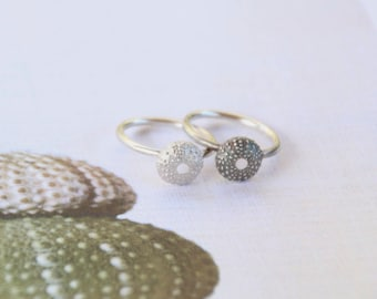 Sea Urchin Stacking Rings in Sterling Silver.  Teen Girl Birthday Gift, Ocean Beach Nautical Jewelry, Surfer Ring, Boho Style Jewellery