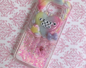 Samsung Galaxy S7 Glitter Waterfall Decoden Pastel Case
