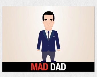 Funny father's day card - Mad men - Father's day download card - Mad Dad - Don Draper - Mad Men father's day instant card - Printable 6x4